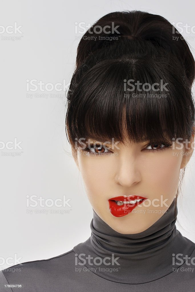 Close-up, beauty portrait of  flirting, beautiful brunette woman. stock photo