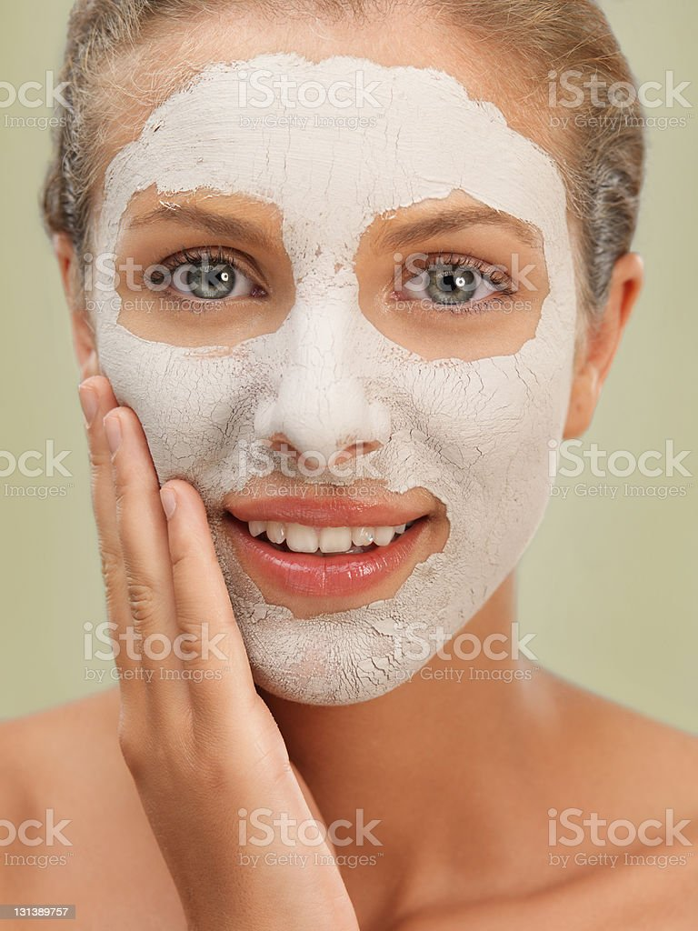 closeup beauty portrait woman with facial mask royalty-free stock photo