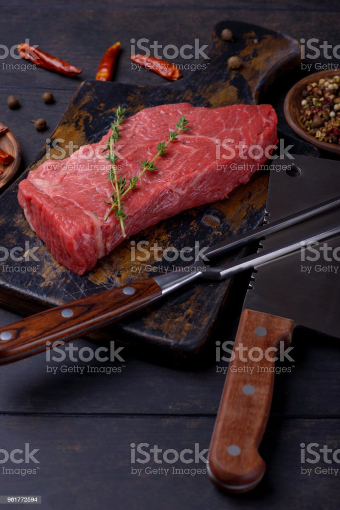 Closeup beef steak and spice stock photo