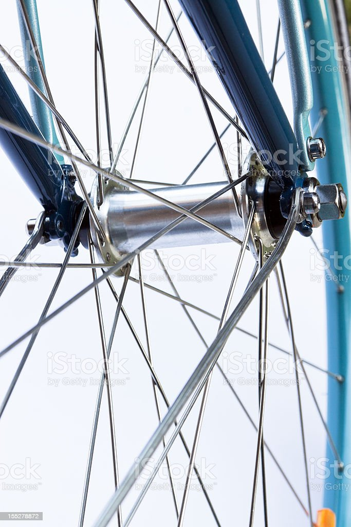 Closeup bicycle front wheel hub royalty-free stock photo