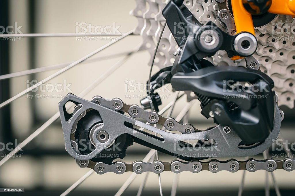 closeup bicycle 'rear derailleur'. stock photo