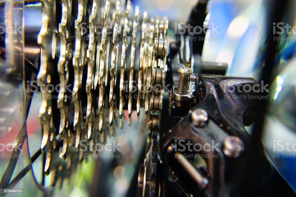 Closeup bike gears stock photo