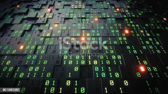 A close up view on an artificial structure made out of cubes with glowing green binary numbers.