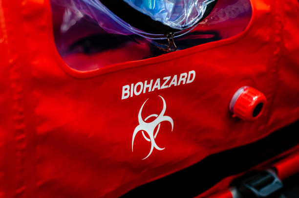 Close-up biohazard sign on rescue equipment stock photo