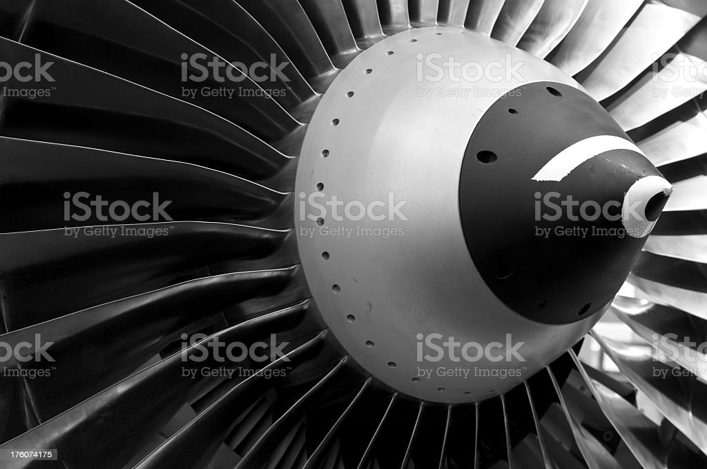 Close-up black and gray shot of turbine royalty-free stock photo