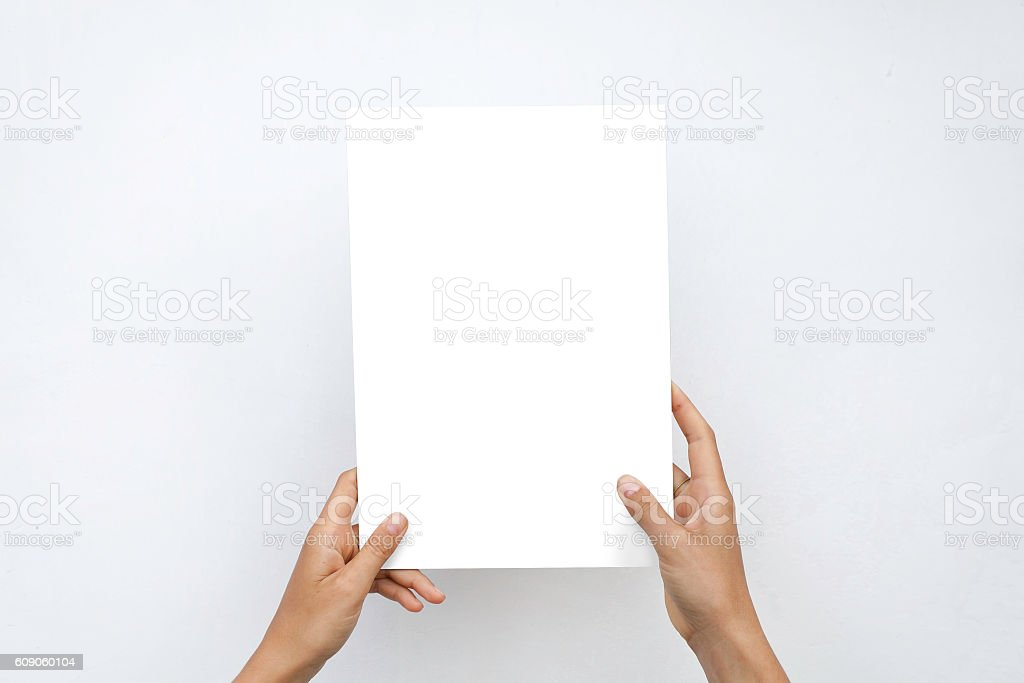 Closeup Blank White Paper Sheet Mockup Holding Female Hands Abstract стоковое фото