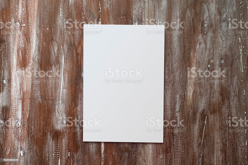 Closeup Blank White Paper Sheet Mockup Natural Wood Table Background стоковое фото