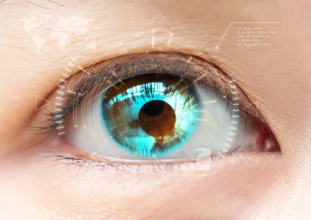 Close-up blue eye. High technology the futuristic. : cataract stock photo