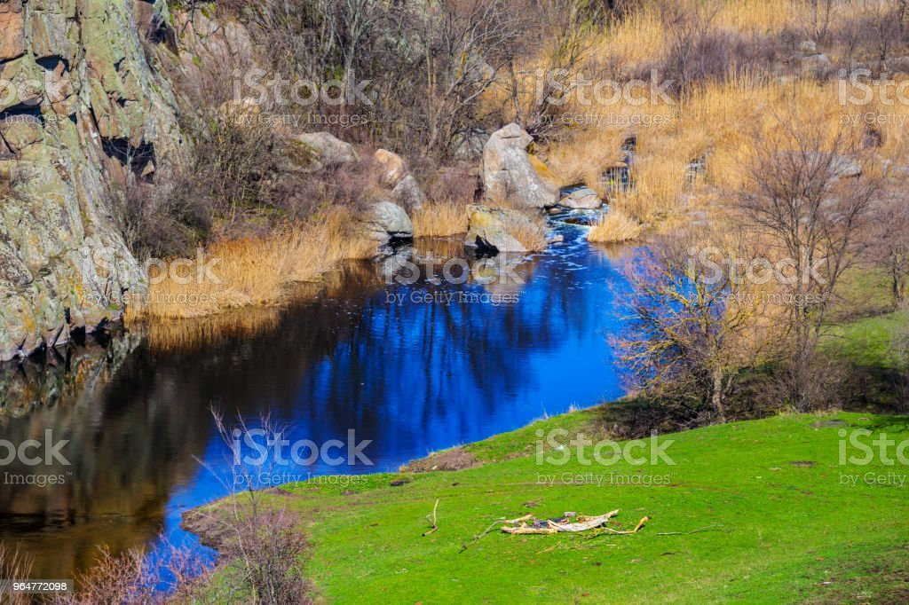 closeup blue river in a mountain canyon royalty-free stock photo