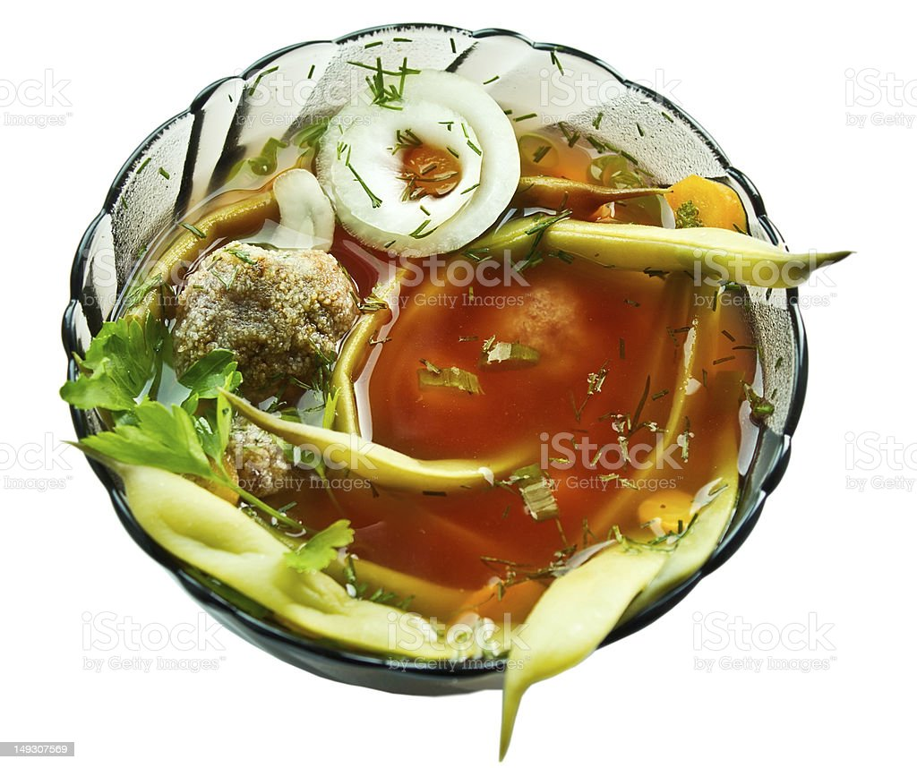 Closeup bowl of haricot soup with teftel stock photo