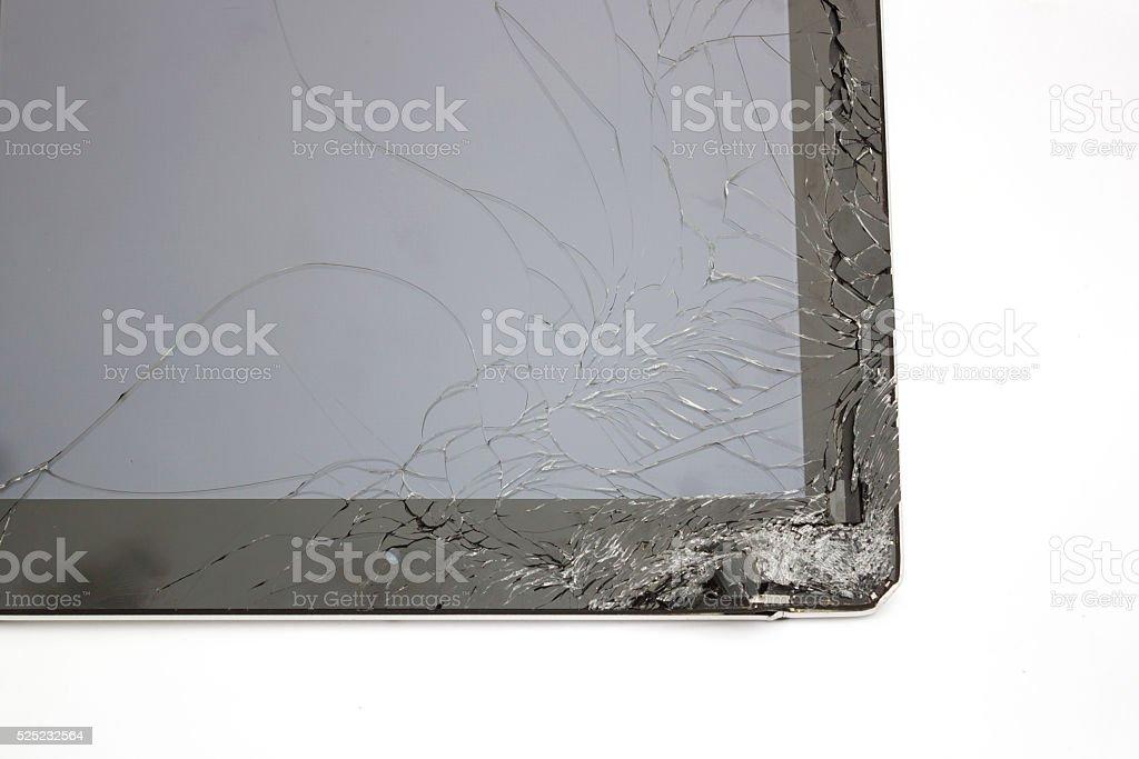 Closeup broken touch screen of tablet. stock photo