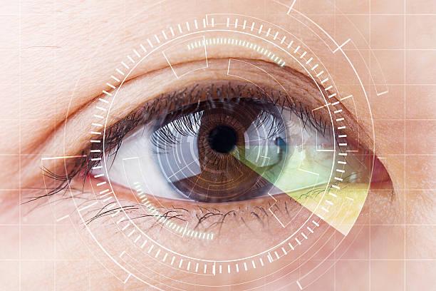 close-up braun auge die zukunft cataract schutz, scannen. - illustration optician stock-fotos und bilder