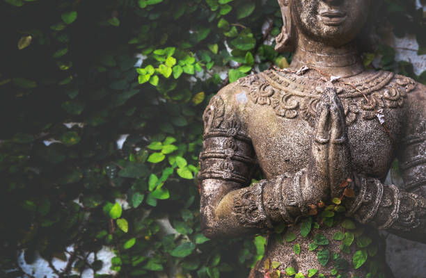 closeup buddhism for statues or models of the Buddha portrait with soft-focus and over light in the background – zdjęcie