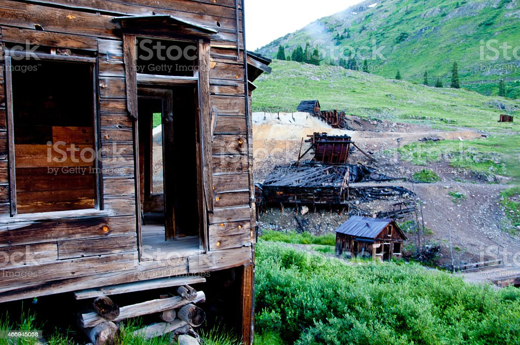 Close-up buildings in Anamis Forks Ghost Town in Colorado. stock photo