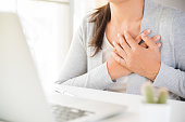istock Closeup business woman having heart attack. Woman touching breast and having chest pain after long hours work on computer. Office syndrome, Healthcare And Medical concept. 1035005418