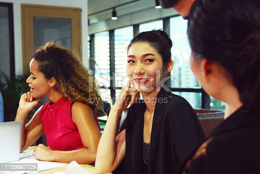 istock Close-up business woman meeting concept and talking information in meeting room. 1153687729
