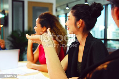 istock Close-up business woman meeting concept and talking information in meeting room. 1153687749