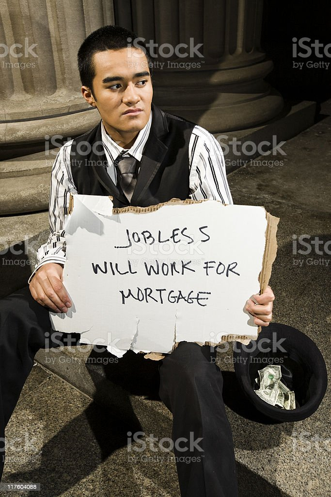 Closeup Businessman Jobless royalty-free stock photo