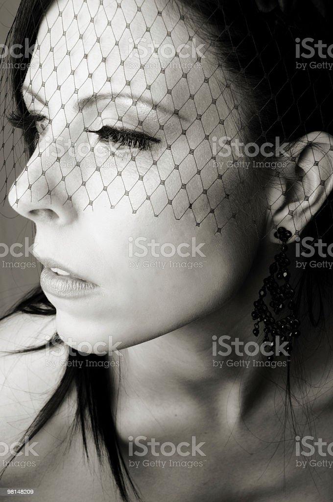 Closeup B&W of fashion model. royalty-free stock photo