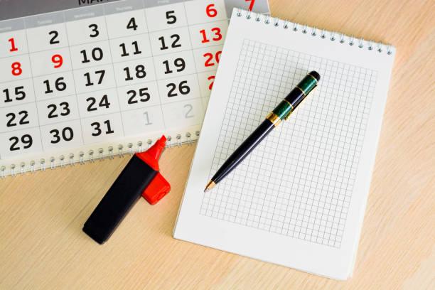 Close-up-Kalender. Konzeptplanung, zählen Sie die Tage, Zeitmanagement – Foto