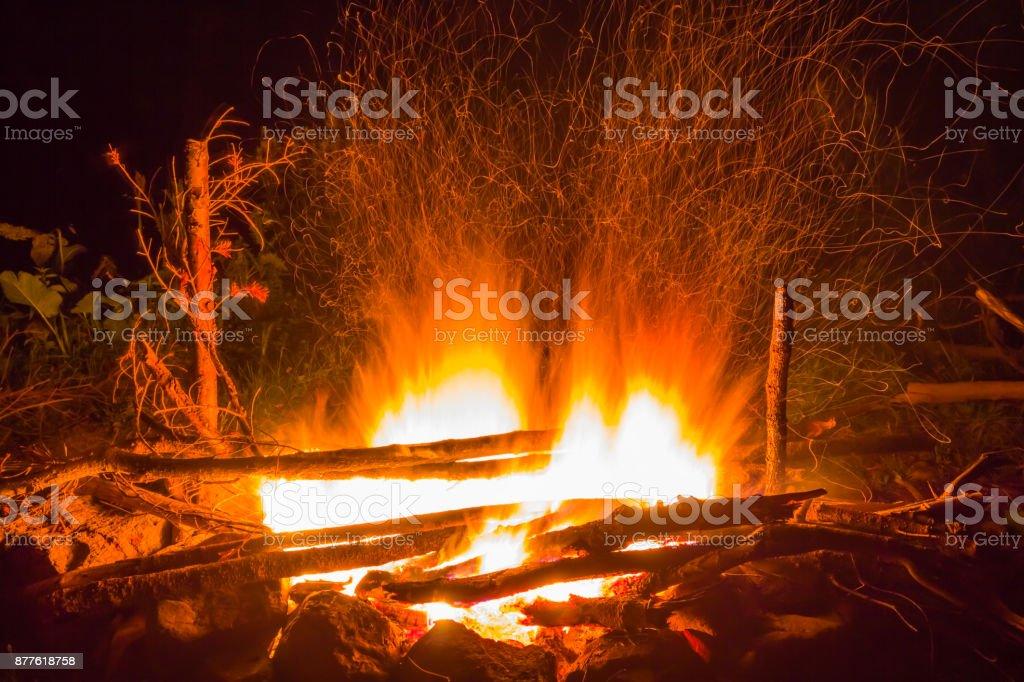 closeup camp fire at the night stock photo