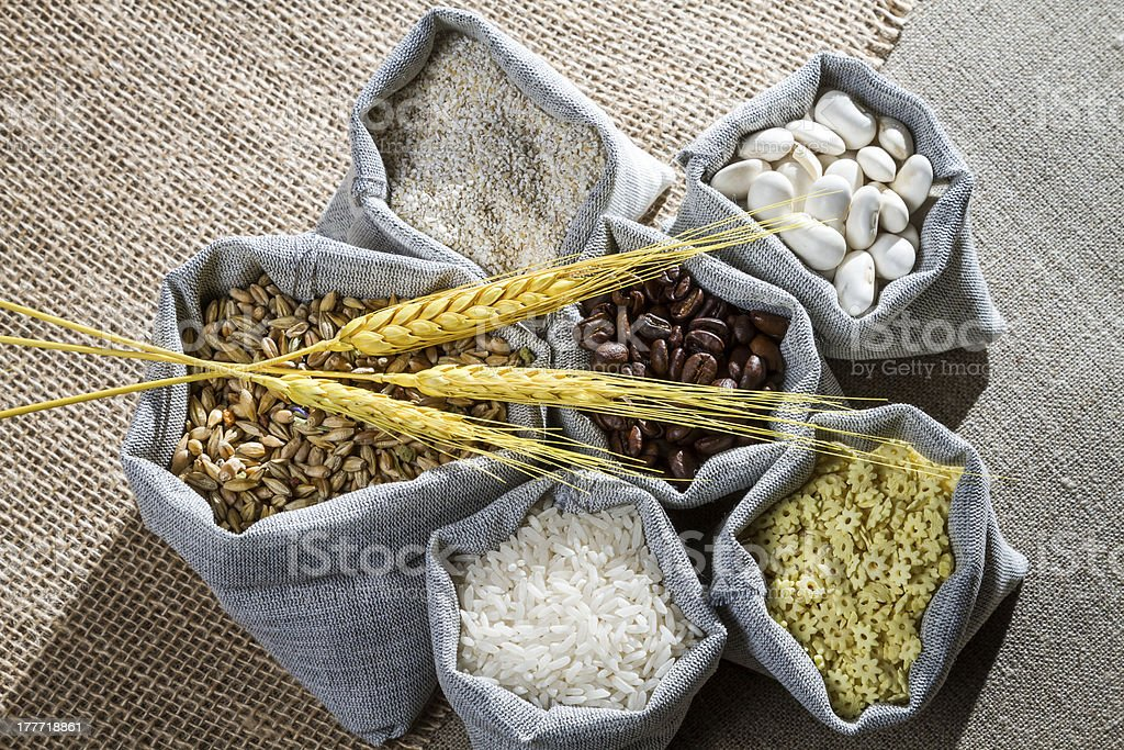 Closeup canvas bags with food ingredient royalty-free stock photo