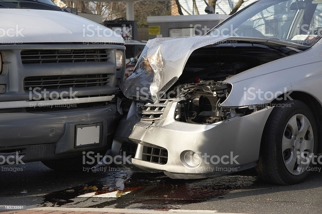 Close-up car accident stock photo