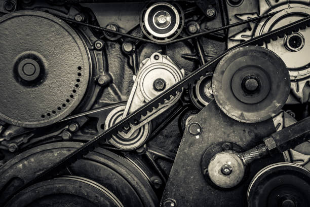 close-up car engine, internal combustion engine. black and white photo close-up car engine, internal combustion engine. black and white photo coupling device stock pictures, royalty-free photos & images