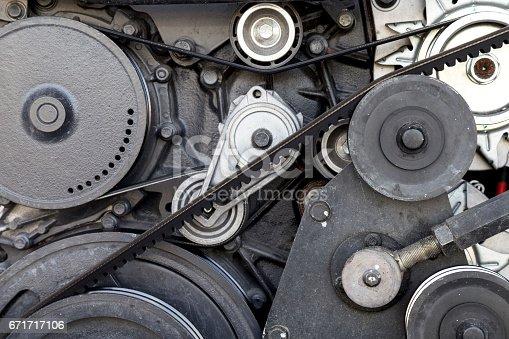 istock close-up car engine, internal combustion engine. 671717106