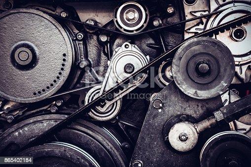 istock close-up car engine, internal combustion engine. 865402184