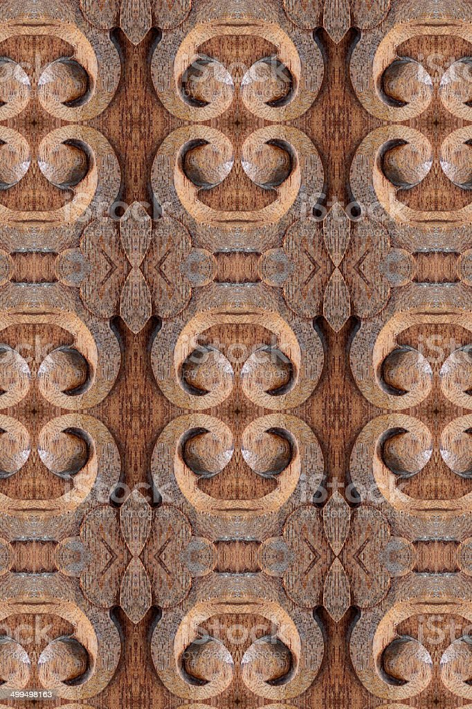 Closeup carved wood wall stock photo