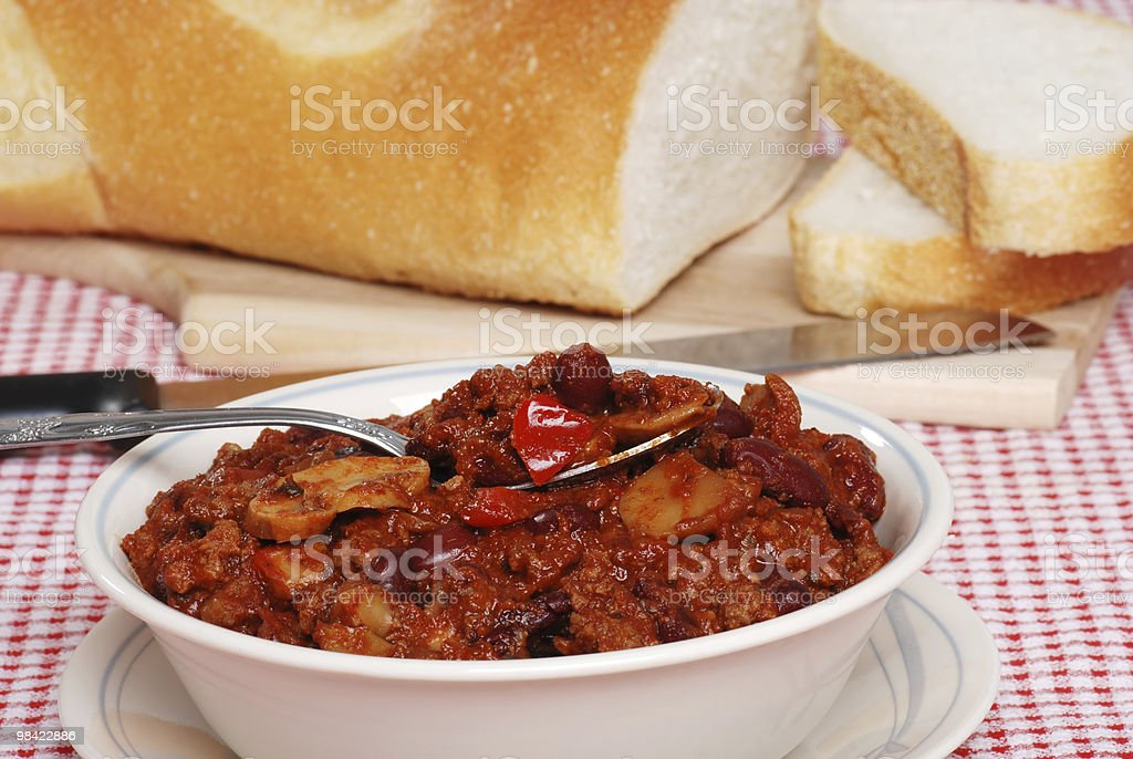 closeup chili with spoon royalty-free stock photo