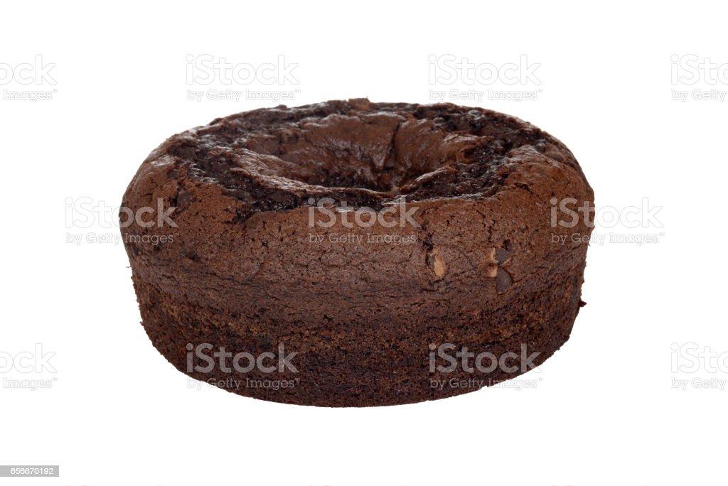 closeup chocolate chip fudge coffee cake stock photo