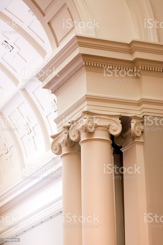 Closeup classical columns, copy space royalty-free stock photo