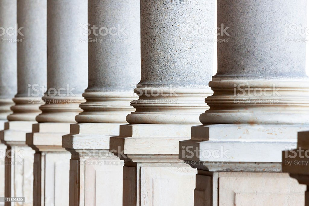 Closeup classical stone columns stock photo