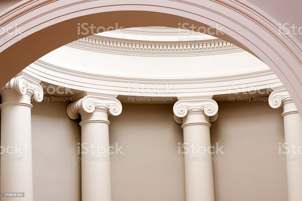 Closeup classical white columns inside of dome stock photo