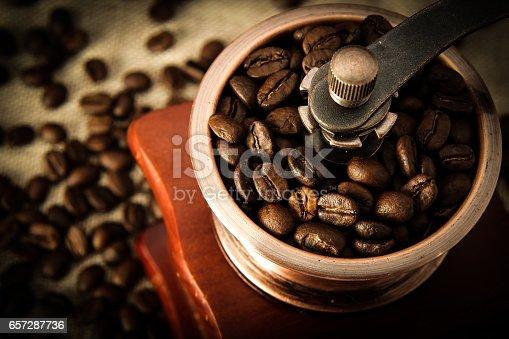 istock Closeup coffee bean and coffee grinder 657287736