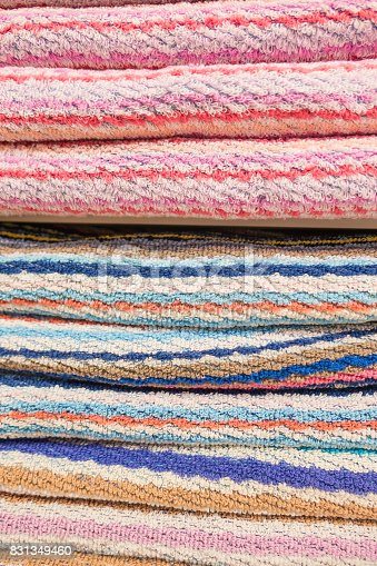 1150734996 istock photo Closeup Colorful Beautiful towels for background 831349460