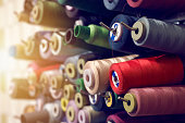 Close-up colorful tailor threads background image