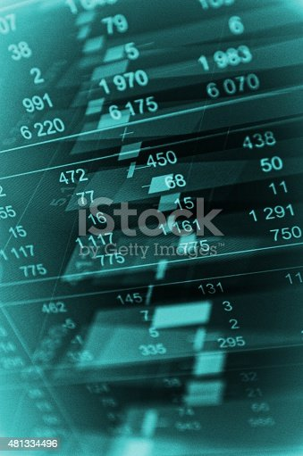 istock Close-up computer monitor with trading software 481334496