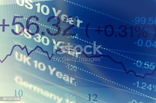 istock Close-up computer screen with trading platform window. 481322306