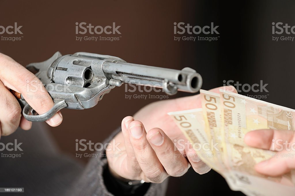 Close-up concept of an armed robbery stock photo