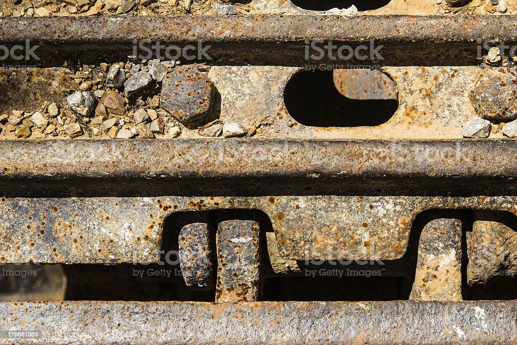 Closeup Continuous track tread from construction caterpillar type bulldozer royalty-free stock photo