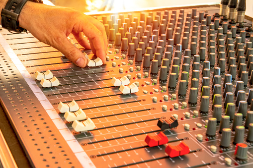 istock Close-up control panel button of sound recording control desk, music mixer in studio for music producer. Music & Event party Müzik mikser 1151806143
