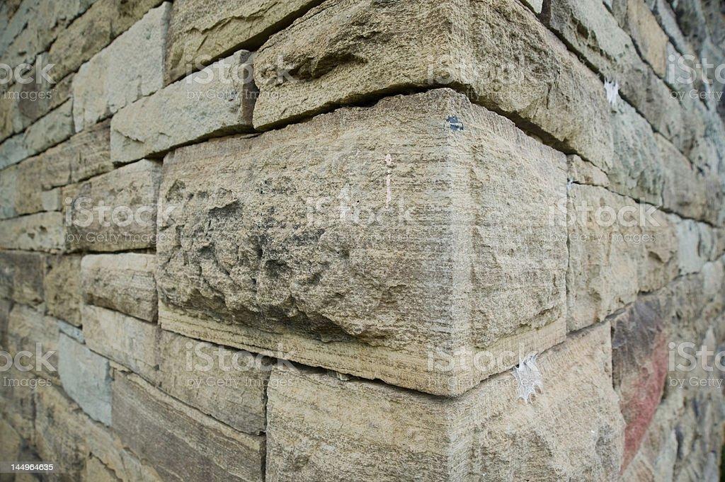 Close-up corner of a rock wall royalty-free stock photo