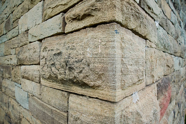 Close-up corner of a rock wall stock photo