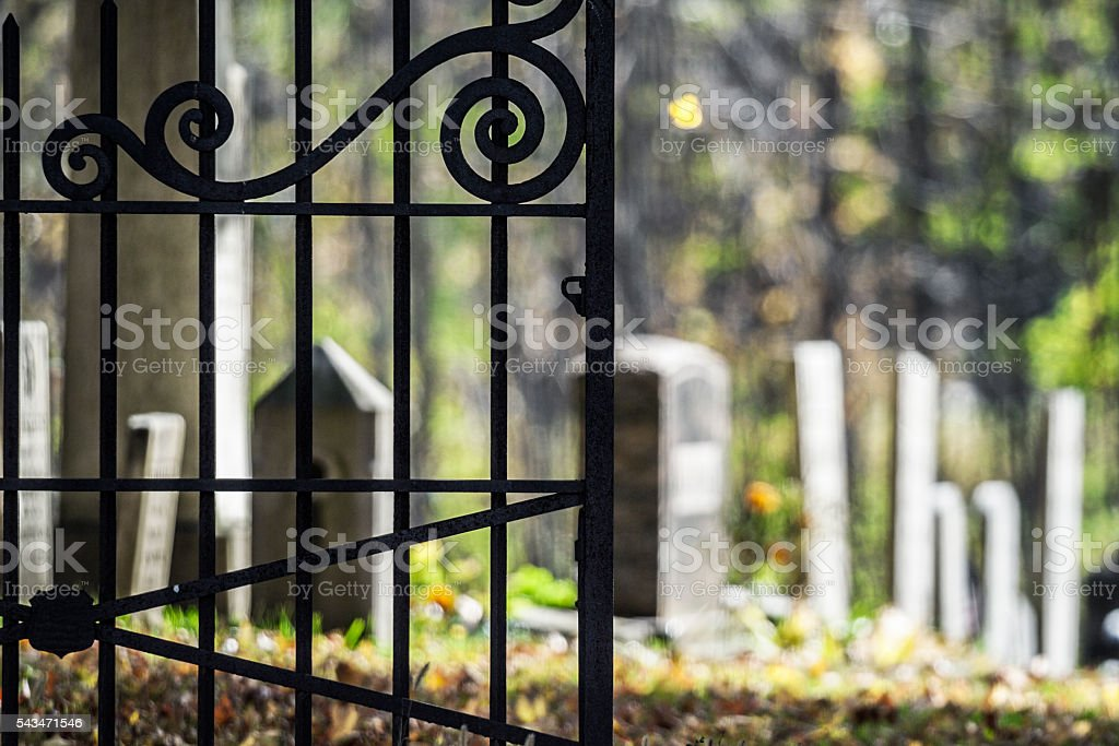 Close Up Country Churchyard Antique Wrought Iron Fence Cemetery Gate Royalty Free Stock Photo