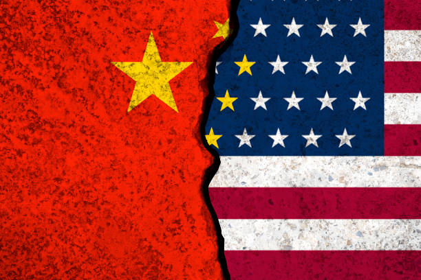 Closeup crack of USA flag and China flag .It is symbol of tariff trade war crisis between United States of America and China which the biggest economic country in the world. Closeup crack of USA flag and China flag .It is symbol of tariff trade war crisis between United States of America and China which the biggest economic country in the world. trade war stock pictures, royalty-free photos & images