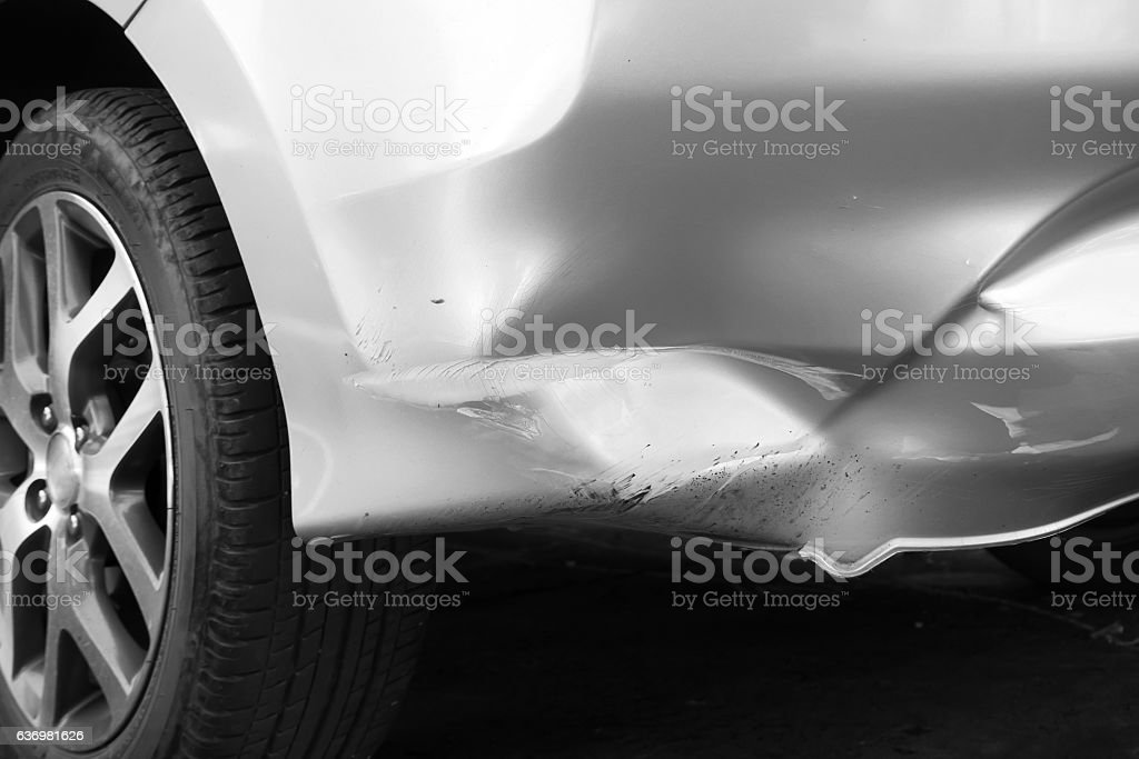 Closeup crash on trunk car. stock photo