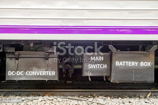 istock Close-up DC-DC Converter, Main switch and Battery box an option parts to install on bogie train 1127438305